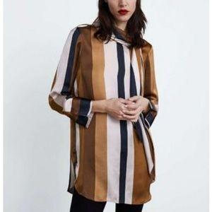 Silk Zara striped shirt with bow